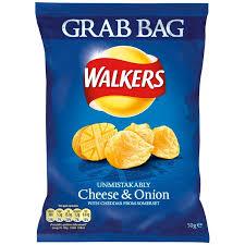 Walkers Grab Bag Cheese & Onion Crisps 32 x 50g