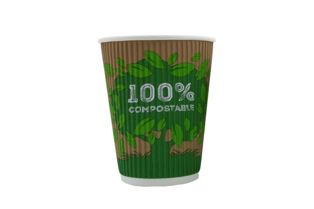 100% Compostable 12oz Coffee Cups x 25