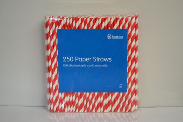 Red & White Striped Paper Straws x 250