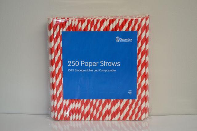 Red & White Striped Paper Straws x 250
