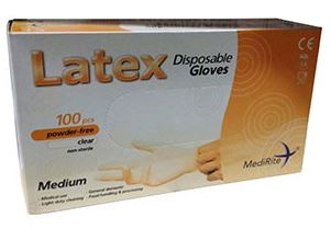 MediRite Latex Powder Free Medium Disposable Gloves x 100