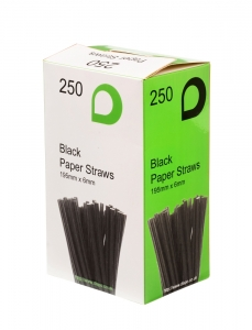Black Paper Straws x 150