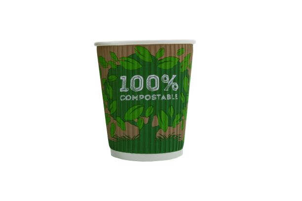 100% Compostable 8oz Coffee Cups x 25