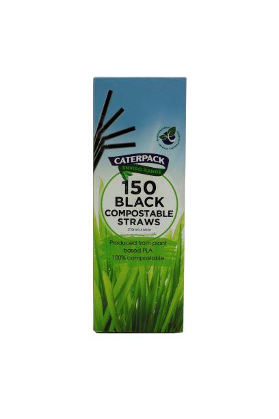 100% Compostable pla Black Straws x 150