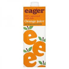 Eager Orange Juice Not from concentrate 8 x  1ltr
