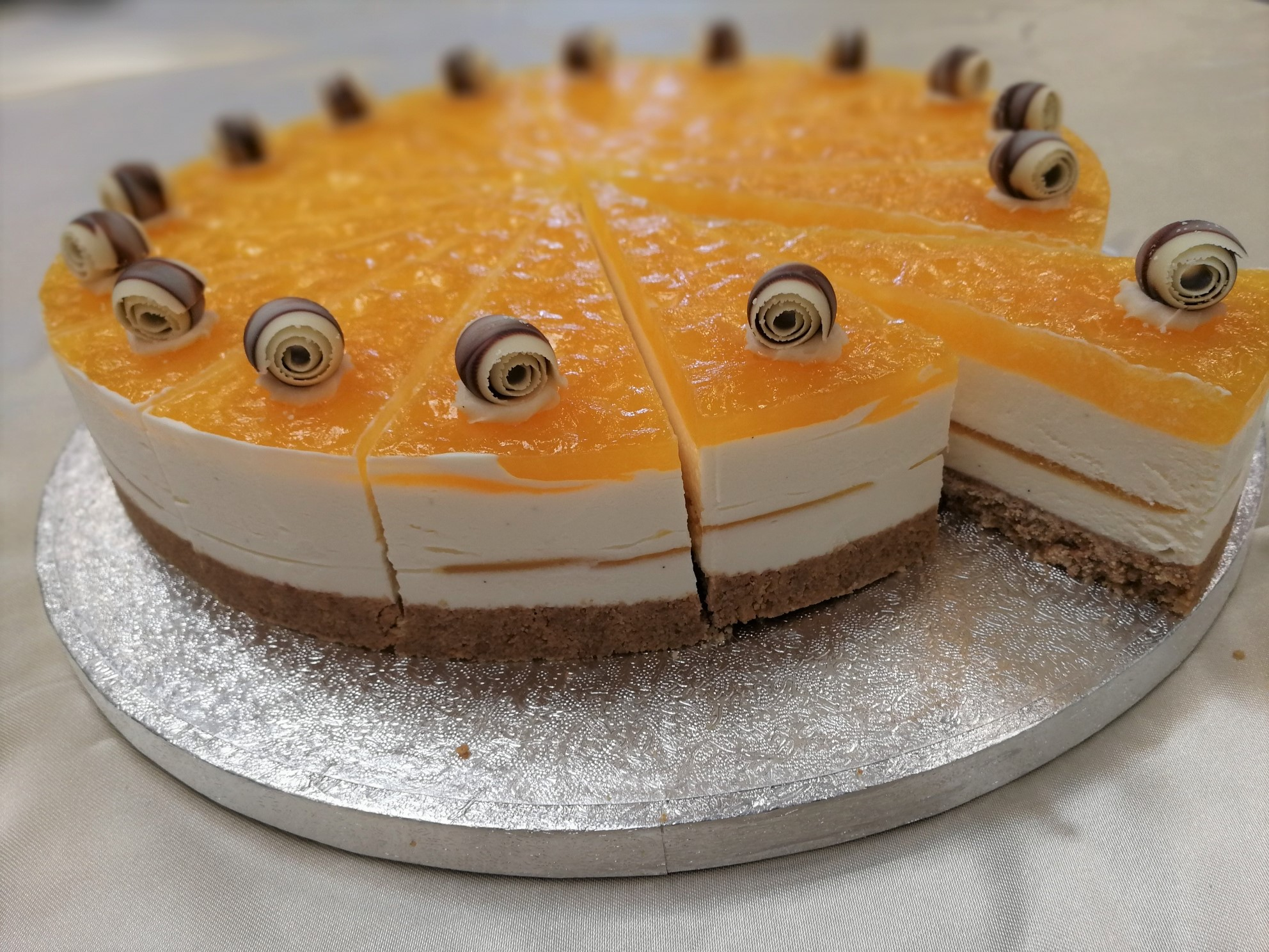 Passion Fruit & White Choc Cheesecake 16 Presliced Portions